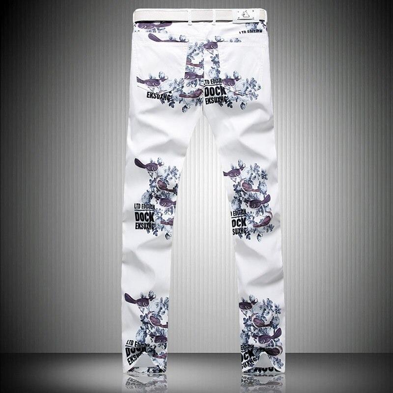 2017 Luxury Man Letter Print Denim Trousers Fashion Slim White Jeans