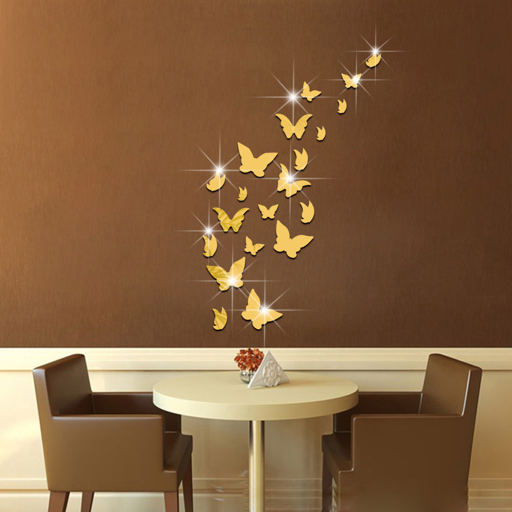 Aliexpress Buy 20 Pcs Butterfly Mirror Wall Stickers