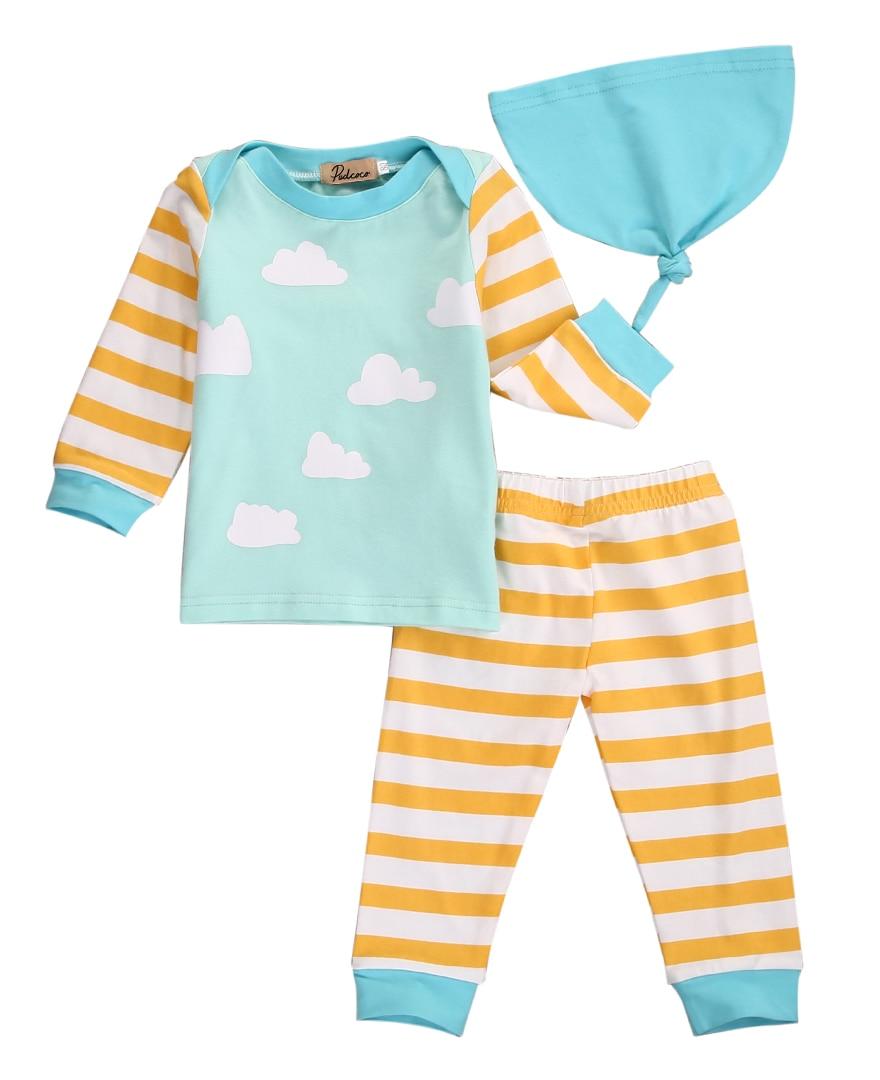 Newborn infant Boy Girl Stripe Long Sleeve T-shirt Pants 3pcs Baby Outfits Set Clothes newborn infant girl boy long sleeve romper floral deer pants baby coming home outfits set clothes