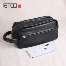 AETOO Mens head layer leather business casual hand-picked bag, large-capacity soft hand personality trend bag