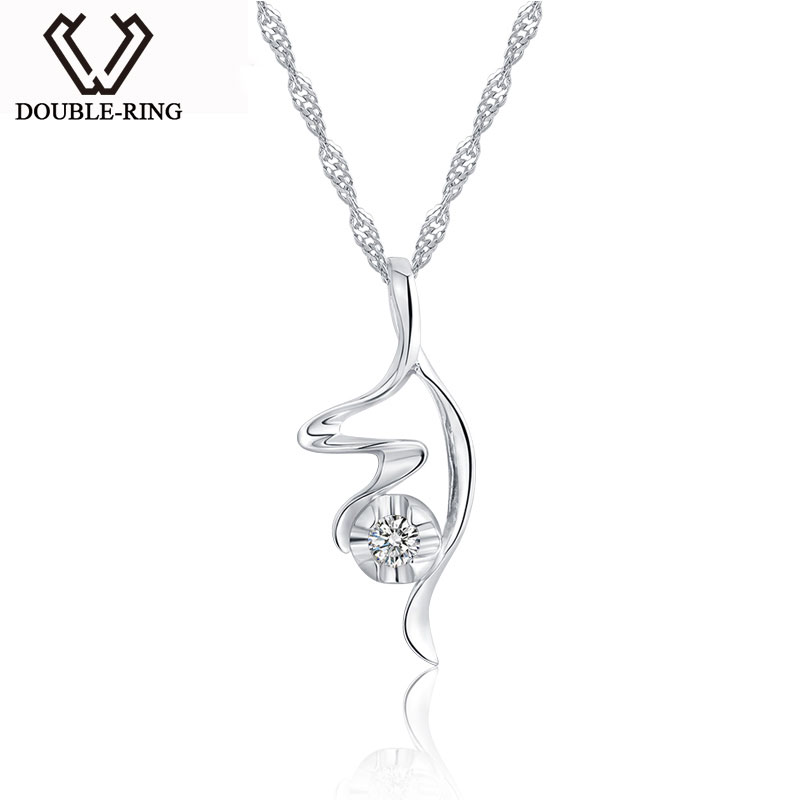 DOUBLE-R 925 Sterling Silver Pendants Women Fairy Necklaces Pendants 0.06ct Diamond Romantic Black Friday Fine Jewelry CAP02777A double r women necklace pendants 0 03ct diamond 925 sterling silver pendants with long chains diamond jewelry cap03755sa 1