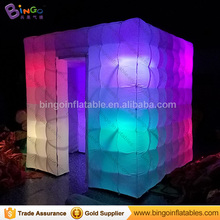 8ft/2.4m two doors inflatable photobooth tent with led lighting/cube inflatable photo booth with multi-color toy tent