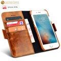 """Para iphone 6 s funda de cuero cera de aceite de lujo desmontable 2 en 1 ranura para tarjeta monedero fundas para iphone 6 4.7 """"genunie de Cuero de la contraportada"""