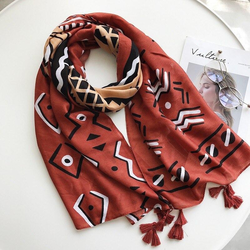 2018 Fashion Tribal Aztec Print Tassel Cotton Scarf Shawl Beach Geometric Tassel Scarves Wrap Hijab 10pcs/LOT Free Shipping