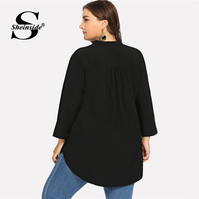 Sheinside Plus Size 4 Color V Neck Roll Up Sleeve Top Asymmetrical Long Chiffon Blouse Women Shirts 2019 Womens Tops And Blouses 1