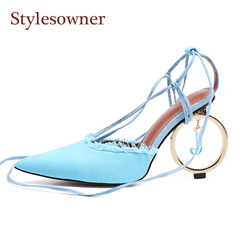 Stylesowner Amazing Lady Denim Hemp Pointed Toe Sandal Shoe Ankle Cross-tied Metal Circle Strange Heel Shoe Party Beauty SapatoStylesowner Amazing Lady Denim Hemp Pointed Toe Sandal Shoe Ankle Cross-tied Metal Circle Strange Heel Shoe Party Beauty Sapato