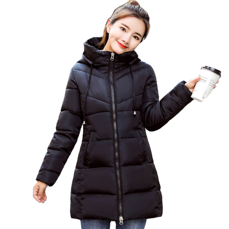 Stand Collar Hooded Women Winter Jacket Slim Cotton Padded Winter Womens Jackets Long Female Coats   Parkas   Chaqueta Mujer