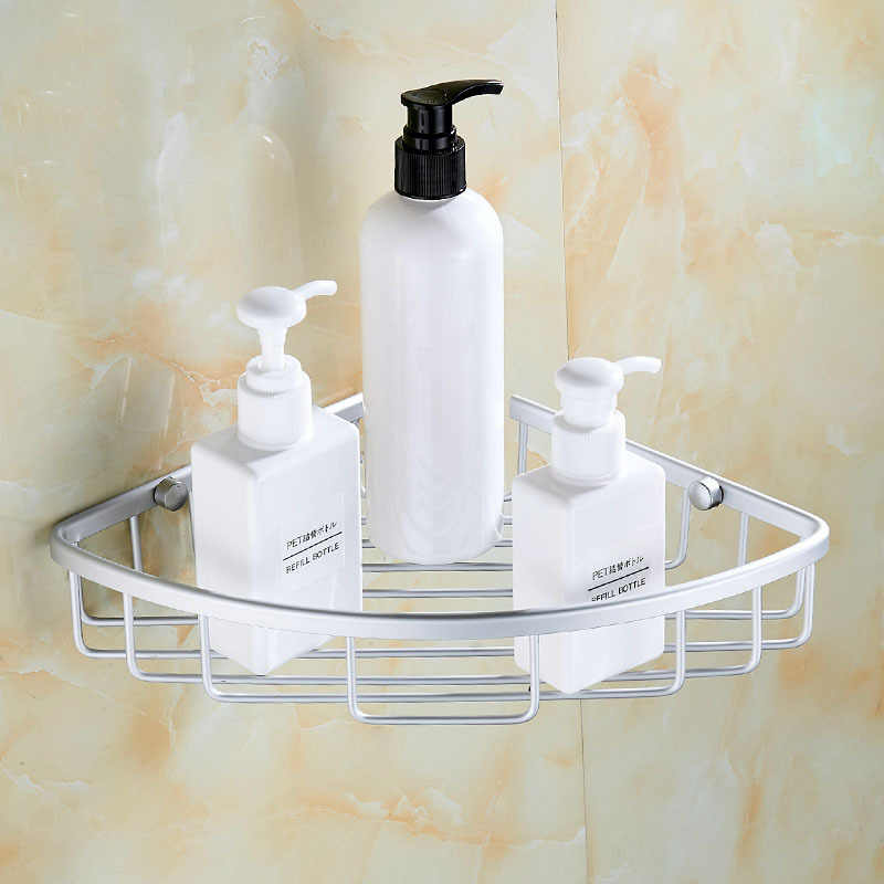 ... Shower Caddy Bathroom Corner Shelf Storage Basket Holder Decor Aluminum  Storage Etagere Salle De Bain Murale ...