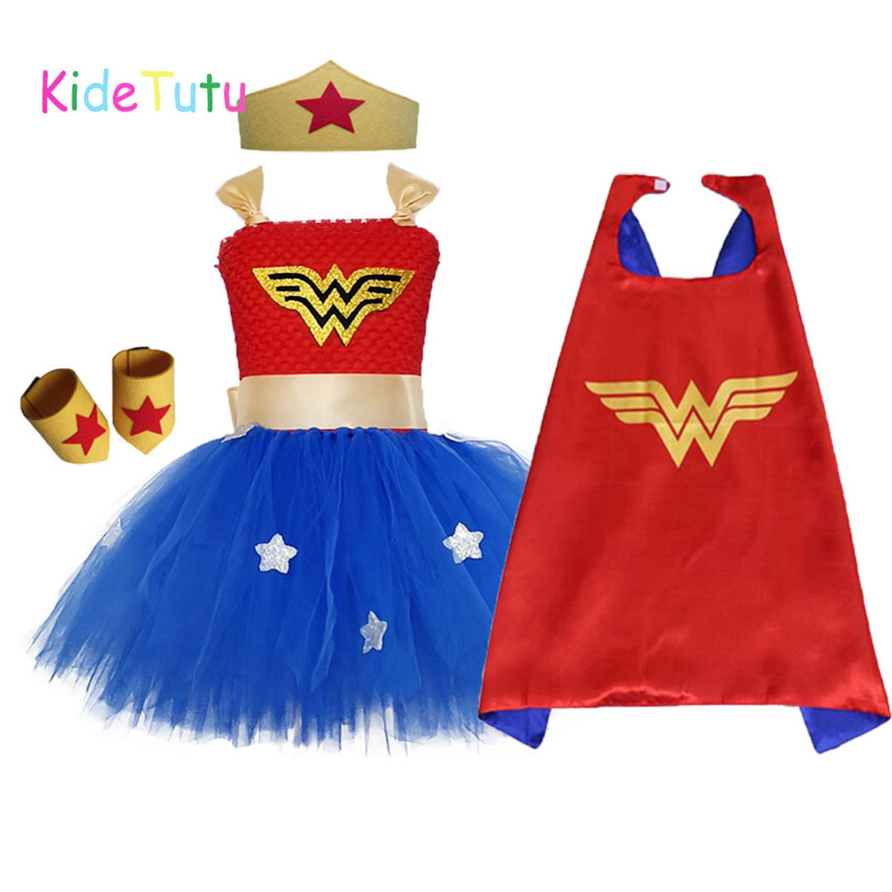 1 Set Wonder Woman Girls Tutu Dress Brave Super Girls Superhero Hero Theme Birthday Party Dresses Halloween Costume For Kids(China)