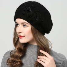 2018 Winter hats for women knitted hat Pearl inlay fashion Berets Womens hat touca inverno feminina Double layer high quality
