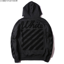 New Fashin OFF WHITE Dark Flocki Stripe Hoodies Sweatshirts Men Women Hip Hop Pullover Tracksuit Sweatshirts Outwear Jacket