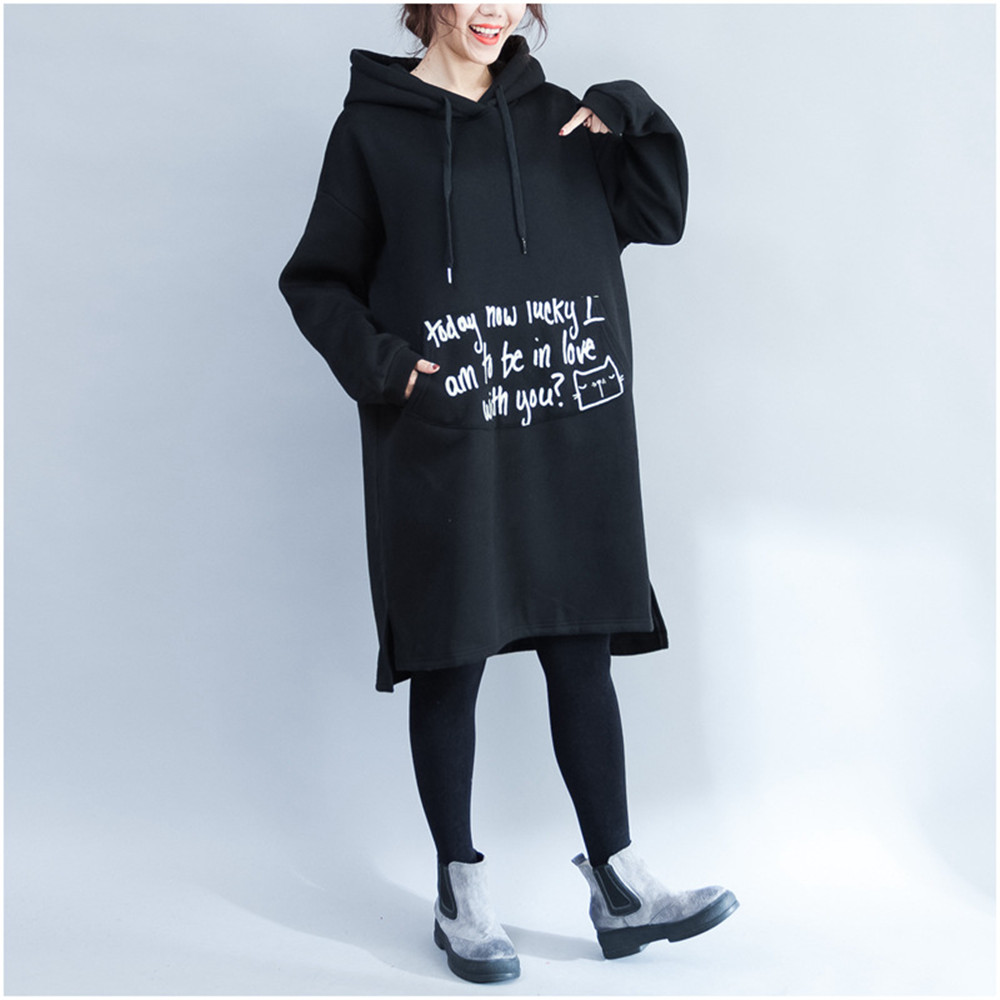 Autumn Winter Maternity Hoodies Print Fashion Add Wool Fleece Pregnant Women Coat Thickening Long Maternity Hoodie With Pocket peak lapel pocket wool blend pea coat