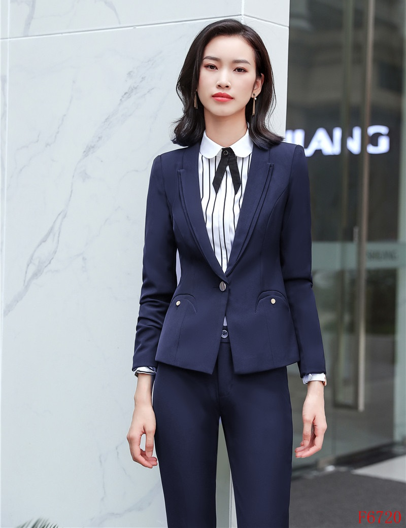 58f812d89de AidenRoyLadies темно-синий Блейзер Для женщин Бизнес костюм формальные  офисные костюмы брюки костюм Рабочая брюки и пиджак комплект брючные костю.