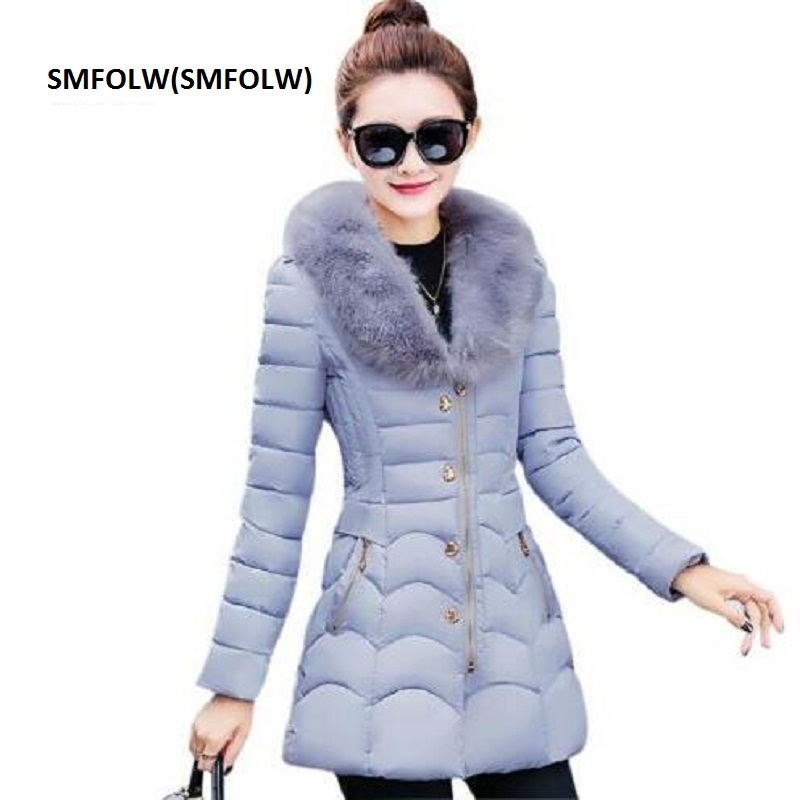 SMFOLW Winter Warm Parka Womens Big Fur Collar Wadded Jacket Outerwear Plus Size Medium-Long Female Cotton-Padded Jacket Coat winter cotton outerwear women super fur hooded wadded jacket female medium long padded coat thicken slim parka plus size