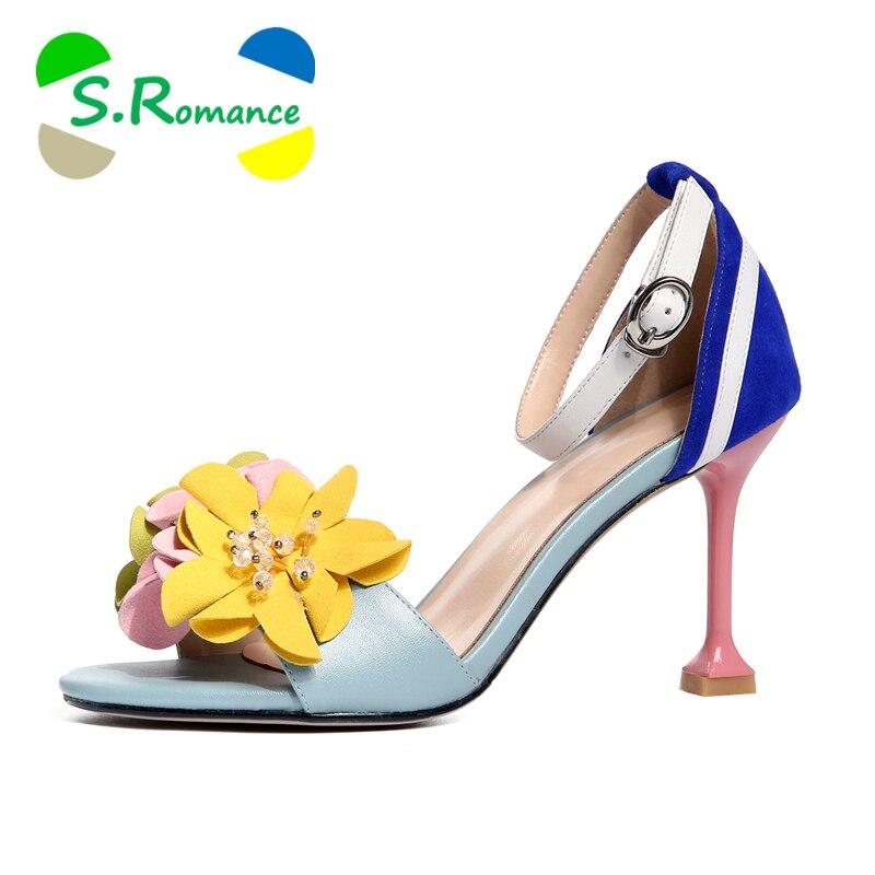 Femmes Femme De Fleurs Ss013 Véritable Cm S Étrange Pompes En Cuir 6 Classiques Arrivée Cm Nouvelle D'été Femelle Talons Mode Romance Sandales Chaussures 9 IpCqwxWCF