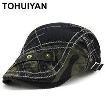 TOHUIYAN camuflaje Patchwork vendedor tapas de los hombres de pico visera  Boina sombrero Vintage de algodón 90945e86232
