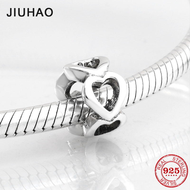 Fashion accessories 925 Sterling Silver hollow out heart shape beads Fit Original Pandora Charm Bracelet Jewelry making