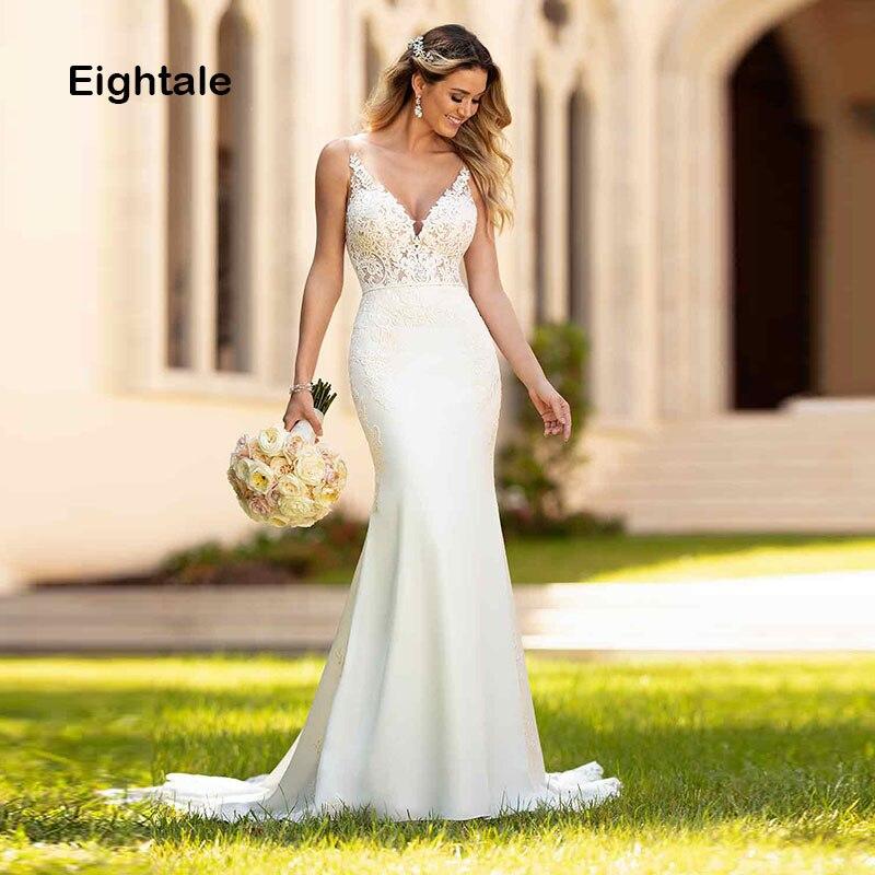 Eightale Mermaid Wedding Dresses Boho 2019 V Neck Appliques Lace Chiffon Buttons Wedding Gowns Bride Dress