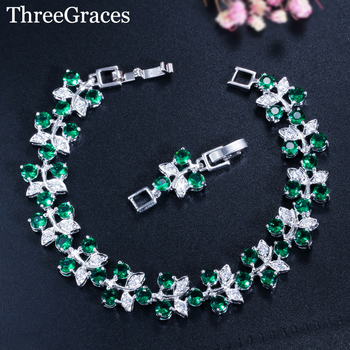 Женские браслеты с фианитом ThreeGraces, 5 цветов на выбор, аксессуары для ювелирных изделий зеленого, красного, фиолетового цветов, BR101