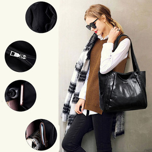 Image 3 - Vintage Large Capacity Pu Leather Shoulder Bags for Women Fashion Solid Color Black Handbags Female Casual Big Tote