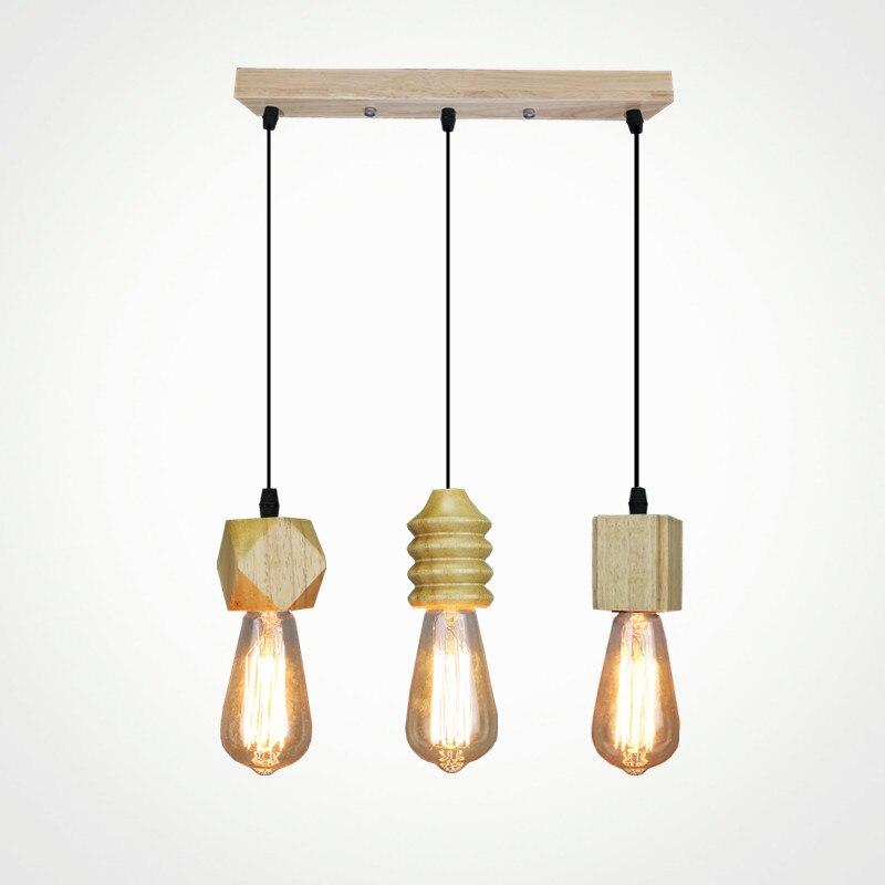 Moderne pendentif lumière bois Nordique lampe intérieure vintage bar boutique à manger chambre suspendus décoration luminaire AC110-265V