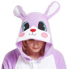 Фиолетовый животных Кролик с большими ушами кигуруми заяц костюмированные  пижамы комбинезоны для взрослых Для женщин Сиамские вс. 09e3fc7e88e89