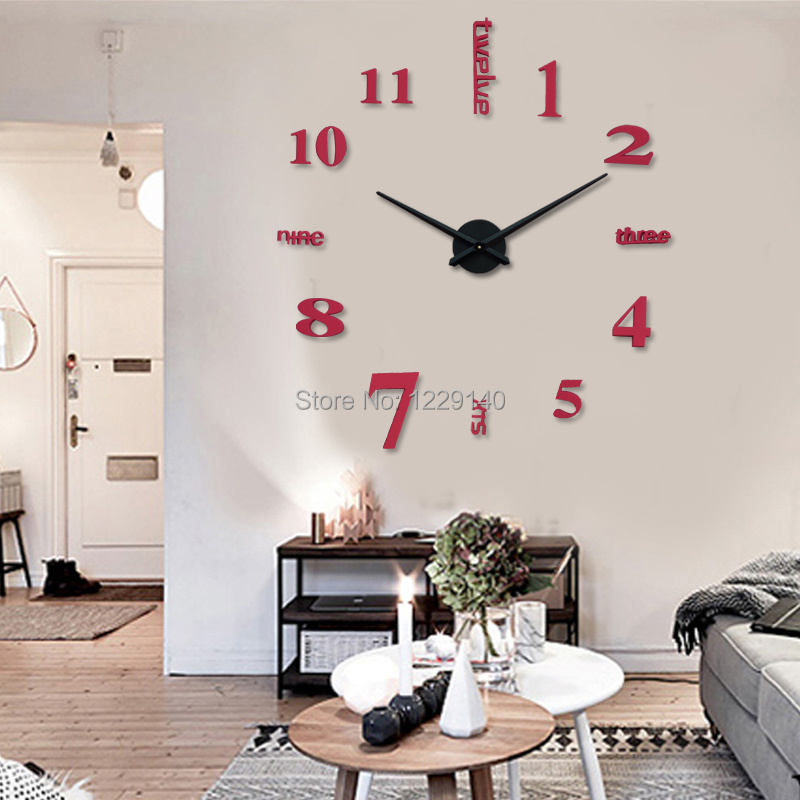 Modern Diy Large Wall Clock Stickers Style Home Office House Room Bar Decor Gifts
