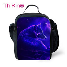 Thikin Moonlight Wolf Lunch Bags for Teenagers bolsa termica Boys Fashion Portable Cooler Box Cartoon Pattern Tote Picnic Pouch