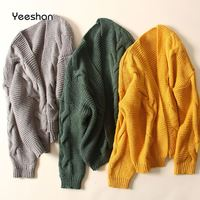 Yeeshan Crochet Jumper Women Twisted Cardigan Female Long Sleeves Yellow Green Grey Women S Sweaters Knitted