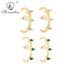 Slovecabin 925 Sterling Silver Alani Gold Pin Earring Cuff BUTTERFLY CLASP FASTENING Clear CZ Green Women Jewelry