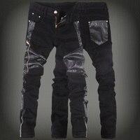 2017 yeni moda erkekler faux deri jeans pantolon erkek skinny deri denim pantolon erkek kot pantolon 28-36 (küçük boy) ücretsiz kargo