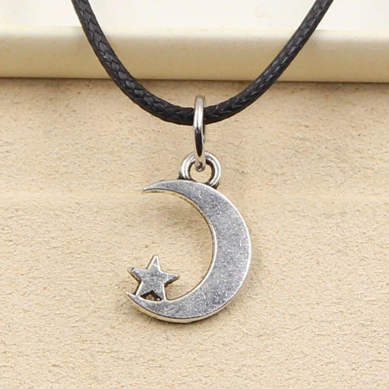 New Fashion Tibetan Silver Pendant moon star Necklace Choker Charm Black Leather Cord Factory Price Handmade jewelry