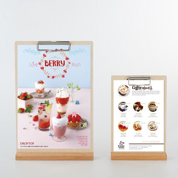 A4  Table Wooden Menu Flyer Clip Board Paper Document Organizer Menu Poster Frame Holder Display Stand цена 2017