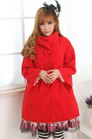 JSK Lolita Cute Lolita Costume British Style with Wool Coat Lovely Print Lolita JSK Red