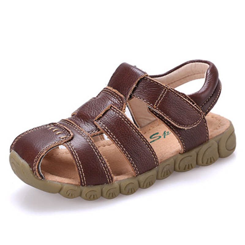 Children Shoes Summer Sandals High Quality Soft Leather Kids Sandals Boys Girls Beach Sandals Cowhide Causal Kids Flat Shoes