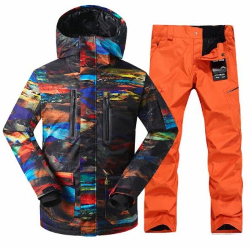 GSOU NEIGE ski veste zipper coupe-vent respirant combinaison de ski costume hommes de double unique plaque Conseil de ski costume hommes livraison Gratuite