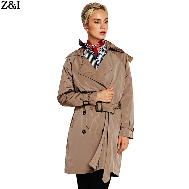 2018 ladies autumn new lapel single breasted windbreaker women's self cultivation long trench coat-in Trench from Women's Clothing    1
