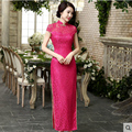 2016 New Arrival Chinese Traditional Women's Solid Lace Long Cheong-sam Classic Qipao Dress S M L XL XXL