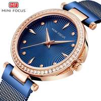 MINIFOCUS 2018 New Ladies Fashion Blue Rose Gold Watch Women Stainless Steel Quartz Wrist Watch Luxury Rhinestone Women Watches