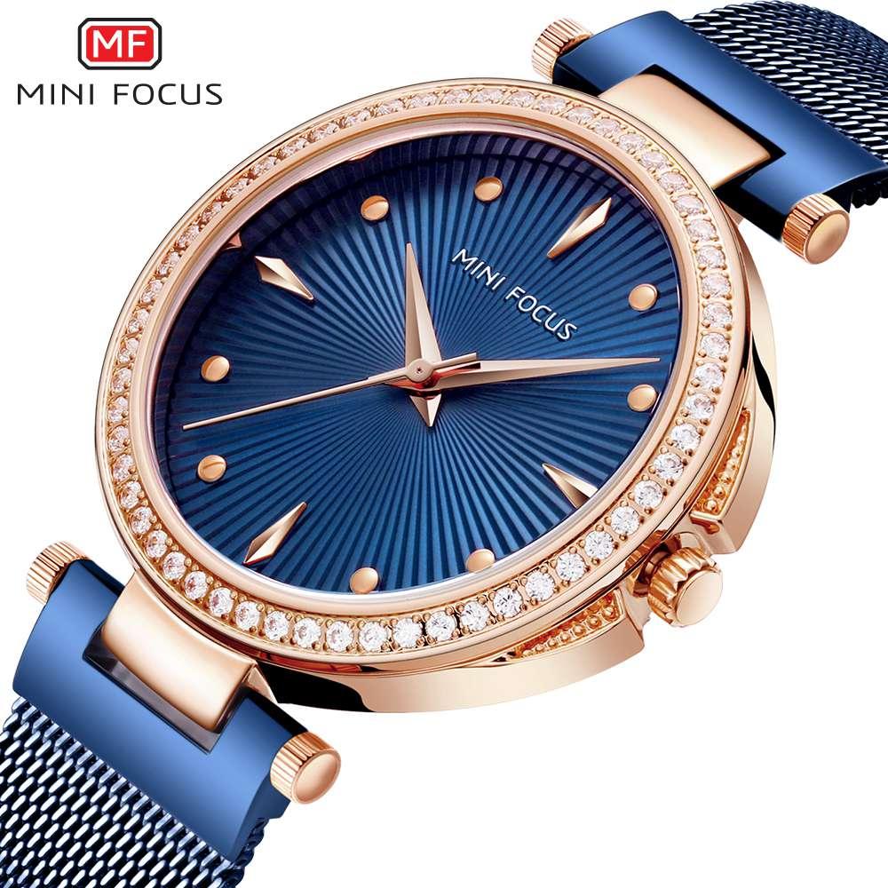MINIFOCUS 2019 New Ladies Fashion Blue Rose Gold Watch Women Stainless Steel Quartz Wrist Watch Luxury Rhinestone Women Watches