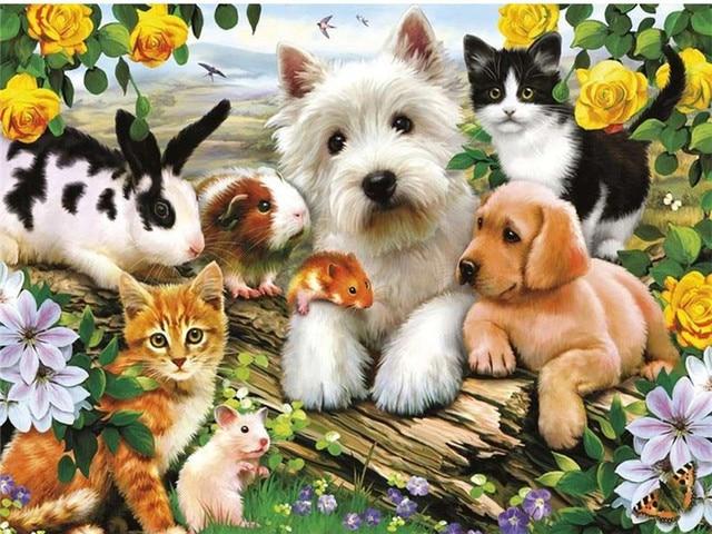 DIY יהלומי ציור כלבים Anmial תרגיל מלא ריינסטון צלב סטיץ ערכות בעבודת יד לרקום אמנות האהבה מתנה