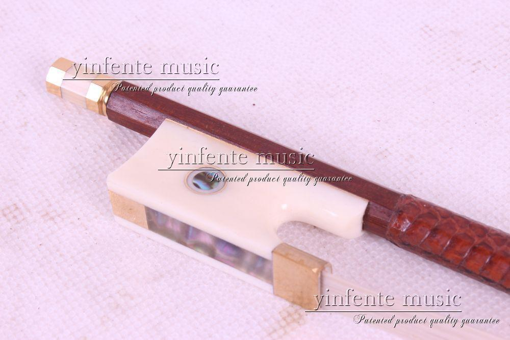 1pcs Brazilwood Round Stick 4/4 violin Bow Ox horn Frog  26# 1 pcs brazilwood violin bow 4 4 straight best model fr og round stick xd 033