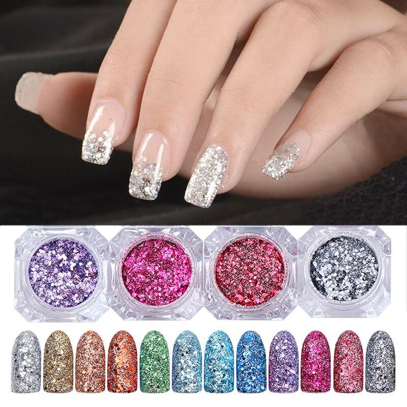 BORN PRETTY 3g/bottle Shinning Nail Glitter Powder Gorgeous Nail Art Holographic Laser Powder Pigment 12 Colors
