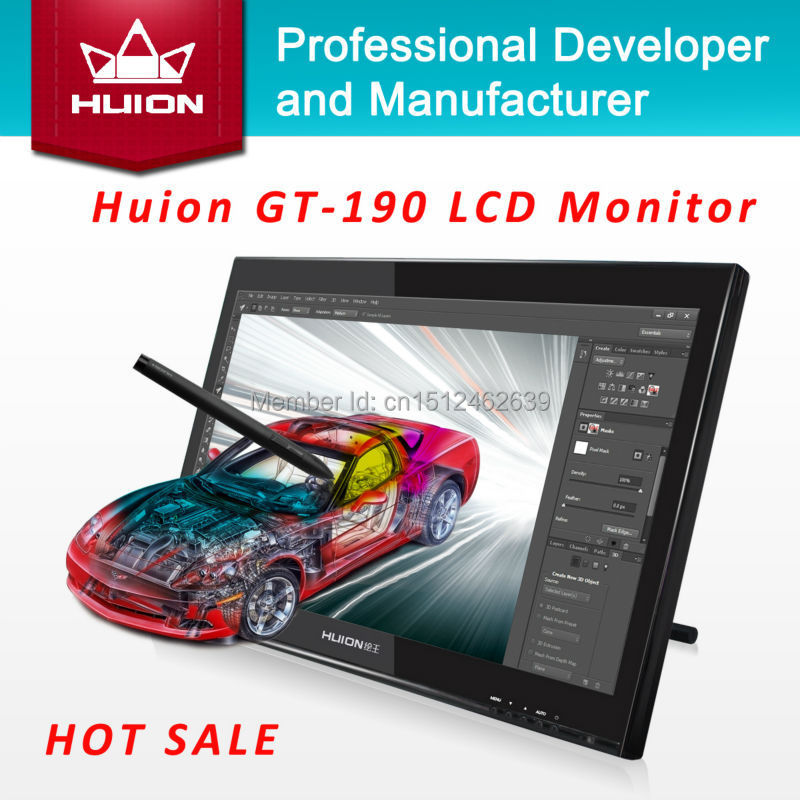 Huion GT-190 19-inch TFT LCD Monitor Touchscreen Monitors Interactive Pen display Deaktop Monitor Digital Tablet Monitor Black huion h580 usb interactive graphic tablet w function keys black yellow