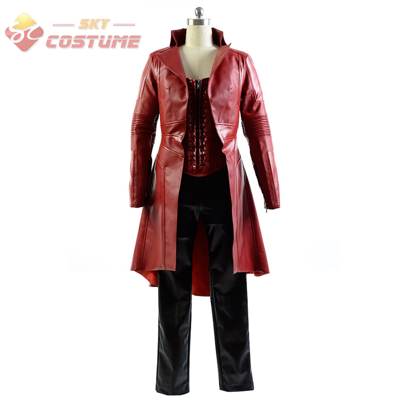 Captain America Civil War Avengers Scarlet Witch Wanda Leather Outfit FullSet Cosplay Costume For Adult Women