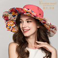 Lady Fashion Foldable Sun Hat Female Summer Sun Cap Women New Wide Brim Travel Sun Hat Prevented Bask Beach Cap B-4888