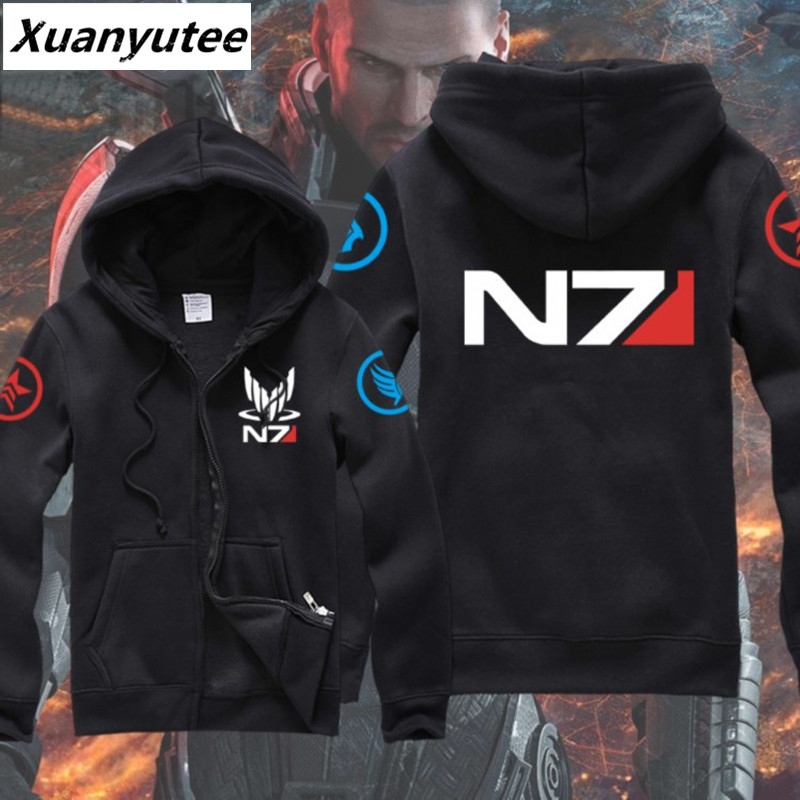 Xuanyutee Mass Effect 3 N7 Sweat Homme Game Fans Print Systems Alliance Military Emblem Black Cardigan Zipper Casual Sweatshirts