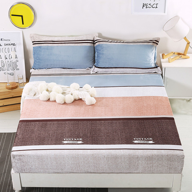 European Style Brown Splicing Pattern Satin Bed Sheet Fitted Sheet Warm  Deep Double Single Bed Sheets