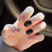 24pcs/set full Nail tips Finished,Fashion simple black geometric lines,Short size square patch, Nail Decoration art Tools bride