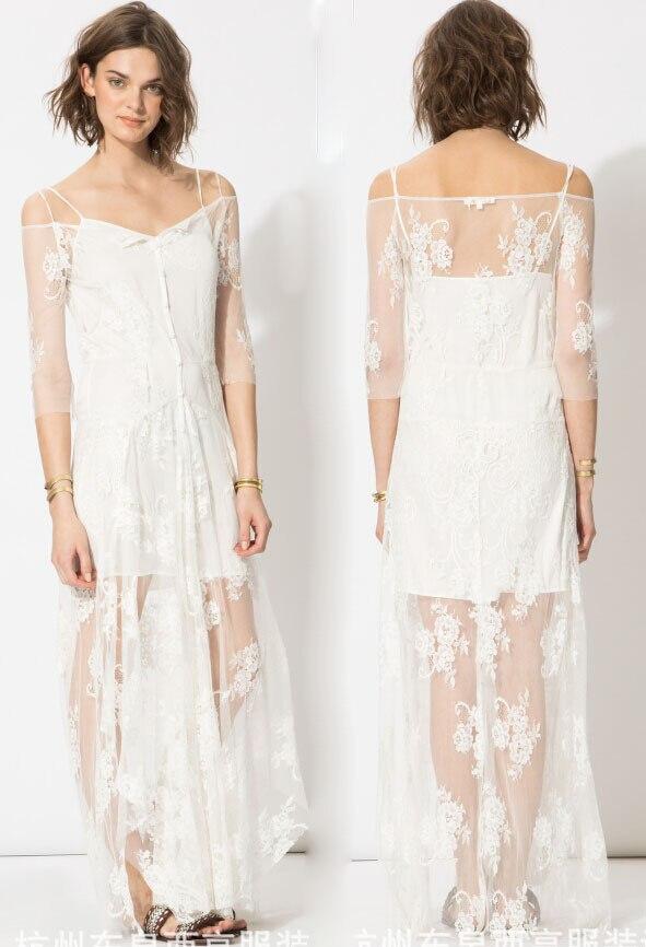 new 2015 maje dress summer style women boat neck collar off shoulder long white lace dress clear. Black Bedroom Furniture Sets. Home Design Ideas
